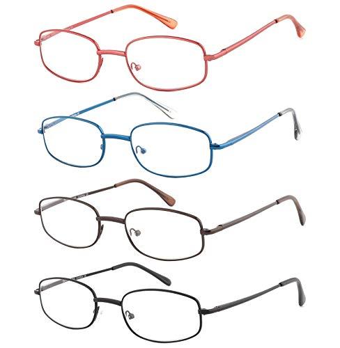 EFE Gafas de Lectura 4 Unidades Gafas con Bisagra de Resorte Montura Cuadrada Ligeras Comodas Metal Hombre y Mujer (+2.50)