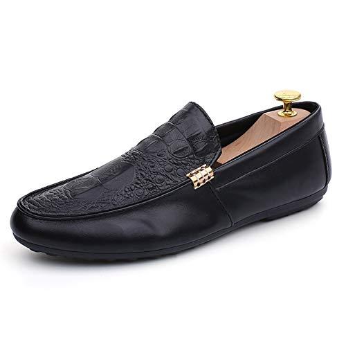 XYZDZ Aire Libre Zapatos Ocasionales del Barco con Estilo de conducción de los Holgazanes de los Hombres de Cuero de la PU Suave Punta Redonda en Relieve de Color sólido Cosido Suela de Goma