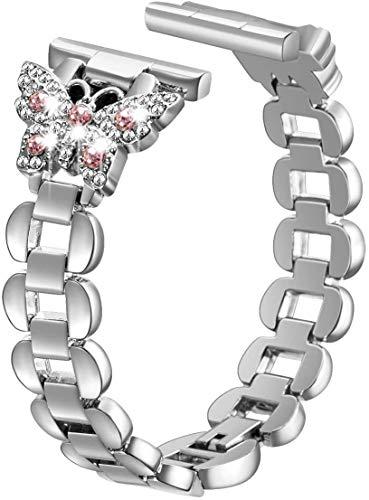 SaNgaiMEi Kompatibel für Apple Watch Armband 38mm 40mm 42mm 44mm Schmetterling Frauen Edelstahl-Ersatzband Apple Watch Series 6 5 4 3 2 1 SE iWatch Armband Silber