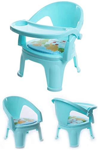 Silla de Comedor portátiles Infantil, Multi-Funcional de Las sillas y mesas de plástico de los niños, Bloc de alimentación Plegable, L33cm * W31cm * H42cm, 15 kg de Soporte de Cargas (Color: Azul)