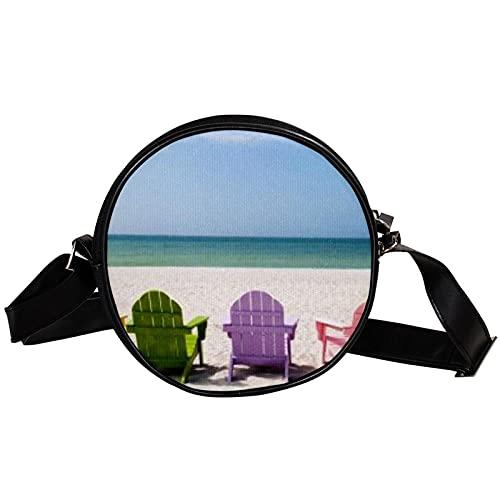 Borsa a tracolla rotonda a tracolla sedia da spiaggia Borsa alla moda con doppia cerniera 17cm