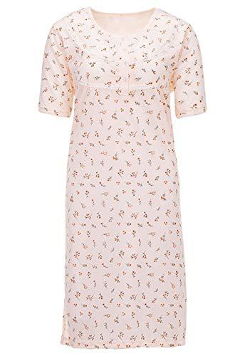 LUCKY Nachthemd Damen Kurzarm Mille Fleurs Blumen Strickbordüre, Farbe:apricot, Größe:M