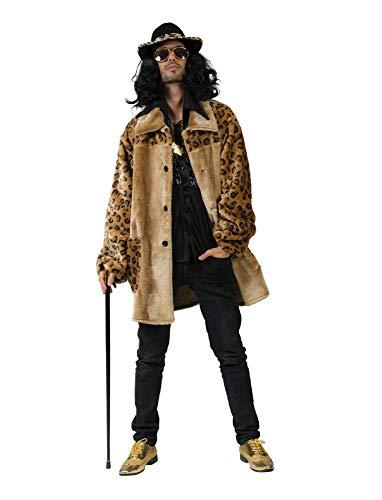 Kostüm Hippiemantel Floyd Größe 56/58 Herren Mantel Hippie Leopardenmuster 70er Jahre Motto Party Tiere Leopard Karneval Fasching Pierro's