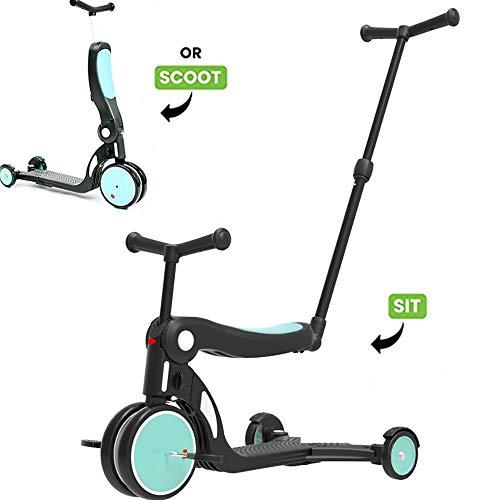 Multifunktionale Kinder Roller, 5In-1 Tretroller mit entfernbarer Sitz Ideal für Kinder & Kleinkinder Mädchen oder Jungen - Einstellbare Höhe Faltbare,Blau