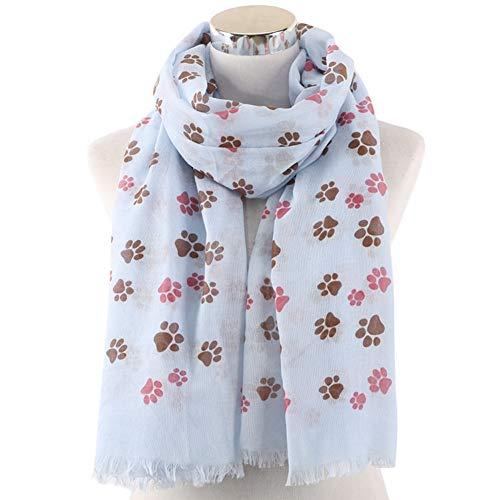 MYTJG Lady sjaal mode roze blauw hond pootafdruk sjaal vrouwelijke sjaal sjaal voorjaar en herfst zacht en comfortabel sjaal
