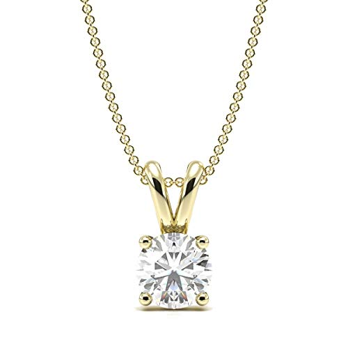 ABELINI 1/2 Carat Certified 100% Natural Round Solitaire Diamond Pendant Necklace for Women in 9K Yellow Gold