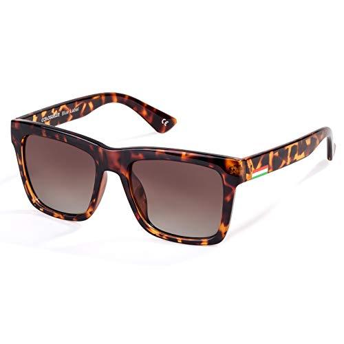 Colossein Classic Polarized Sunglasses For Men Retro Square Frame Mirrored Lens, UV400(Gradient Brown Lens/Tortoise Frame)