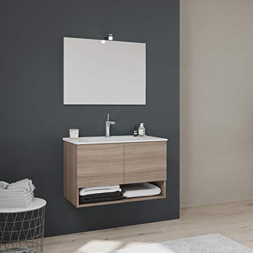 Mobile Bagno Sospeso 80 cm 2 Ante in legno rovere Specchio con telaio Lavabo Ceramica Arredo