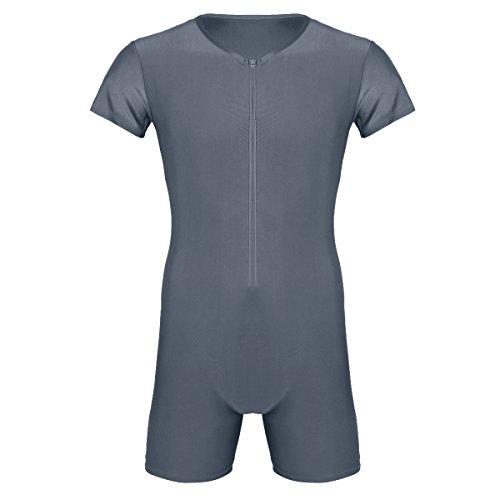 Agoky Herren Body Bodysuit Einteiler Kurz mit Reissverschluss Overall Slim Fit Männerbody Kurzarm Unterhemd Boxershorts Unterwäsche M-XXL Grau XL