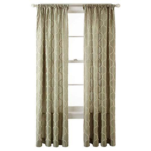 jcp Royal Velvet Geneva Embroidered Rod-Pocket Curtain Panel 50 x 84 Evening Sage