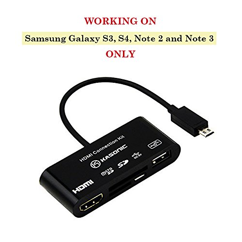 Kasonic Small Multi-functional MHL Hdmi Hdtv Connection Kit As USB OTG SD TF Card Reader for Samsung Galaxy S3 S4 Note2 3