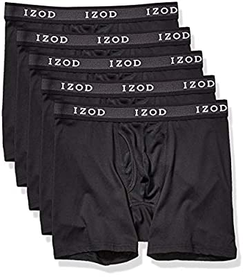 IZOD Men's 5 Pack Performance Boxer Brief, Black/Black/Black/Black/Black, XL
