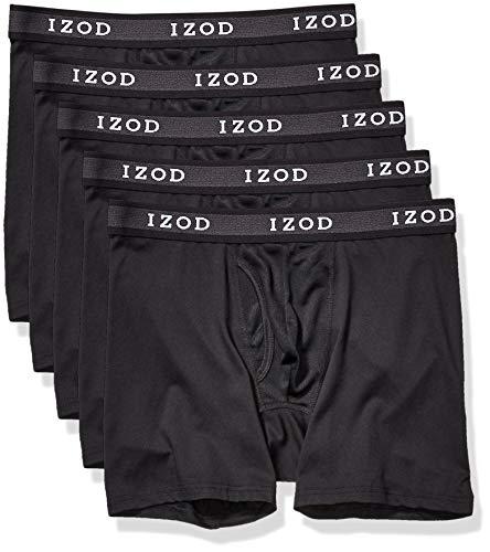 IZOD Men's 5 Pack Performance Boxer Brief, Black/Black/Black/Black/Black, XL