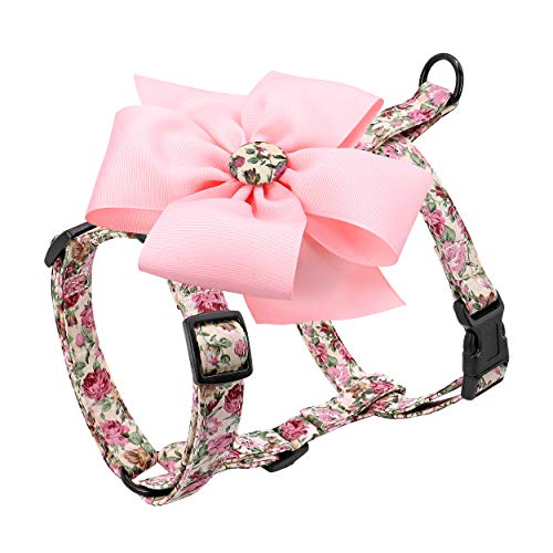 """Beirui Escape Proof Small Dog Harness for Puppies - Cute Floral Puppy Walking Harness with Detachable Flower (Chest 12-21"""")"""