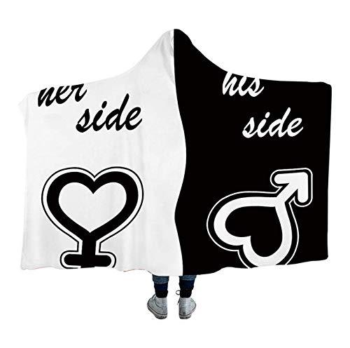 His & Her Side Kapuzen Decke für Paar...