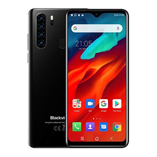 Blackview A80 Pro Handy, Smartphone Quad Rückkamera, Dual-SIM, freie Android-Handys mit 4680 mAh großem Akku, 16,5 cm Wassertropfen-Vollbild, 4 GB RAM + 64 G ROM, Fingerabdruck, Face ID – Schwarz