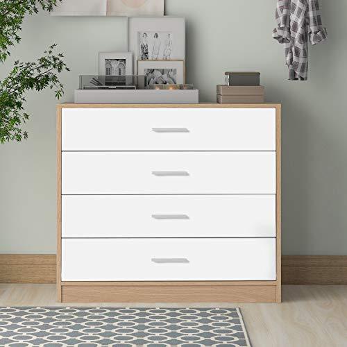 TETHYSUN Kommode Mit 4 Schubladen, Schrank für Schlafzimmer Wohnzimmer Esszimme, Sideboard Highboard Anrichte Holz, 72x35x75cm