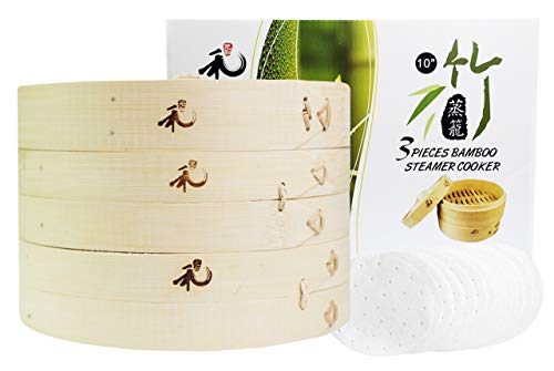 Yuho Asian Kitchen Bamboo Steamer 10–Inch, Individually Box, 2 Tiers & Lid, 10 Parchment Liners, Perfect For Steaming Dumplings, Vegetables, Meat, Fish, Rice, Healthy Lifestyle, 100% Natural Bamboo