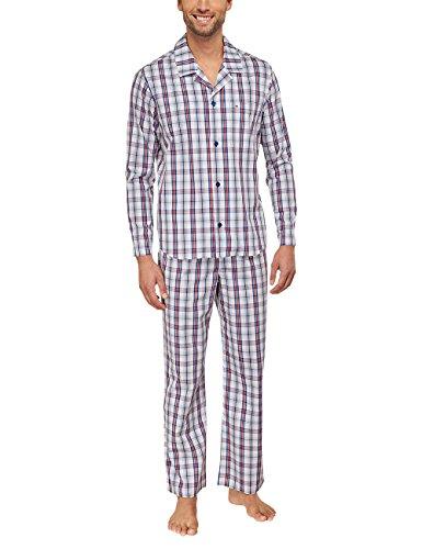 Seidensticker Herren Pyjama lang 151424 Zweiteiliger Schlafanzug, Rot (Rot 500), 48