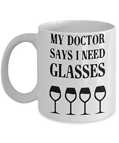 Porcelain Cup Amantes Del Vino Divertidos. Mi Doctor Dice Que Necesito Gafas Amigos 330 Ml Familia Taza De Café Unisex Taza Taza De Cerámica De Porcelana Compañero De Trabajo Moda