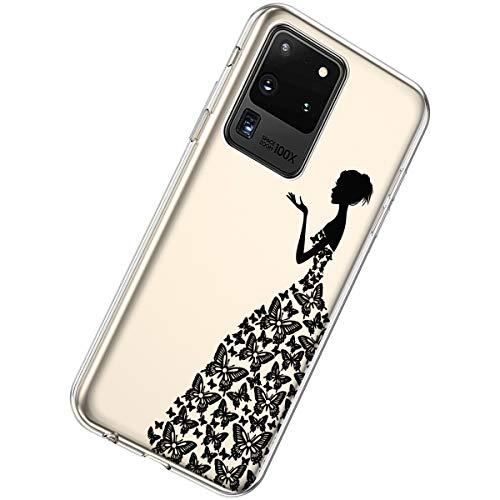 Herbests Kompatibel mit Samsung Galaxy S20 Ultra Hülle Silikon Weich TPU Handyhülle Durchsichtige Schutzhülle Niedlich Muster Transparent Ultradünn Kristall Klar Handyhülle,Mädchen