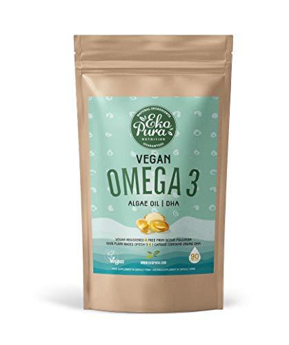 Vegano Omega 3 - Aceite de Algas, 90 Capsulas (250mg DHA/Capsula)