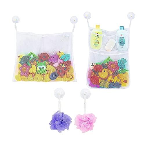 litulituhallo 2 juguetes de malla para baño con 5 bolsas de malla, la red perfecta para juguetes de bañera