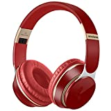 Auriculares inalámbricos reales 3D estéreo Bluetooth auriculares plegables para juegos con micrófono compatible con tarjeta TF de reducción de ruido (color: rojo)