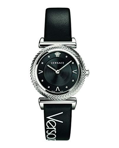Versace V-Motif Damenuhr Schwarzes Leder Silber Stahl 35mm VERE00918