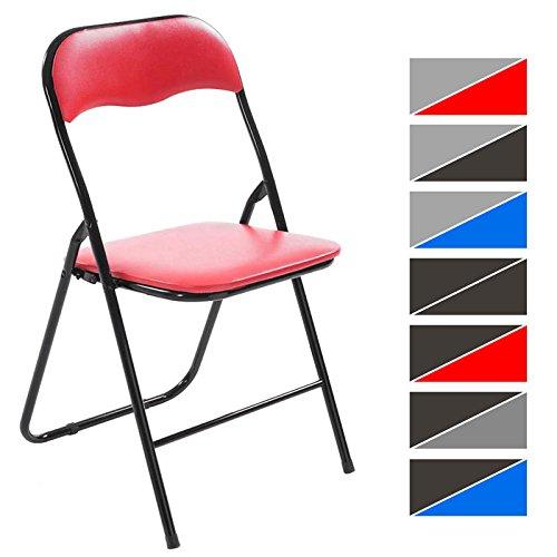 CLP Klappstuhl Küchenstuhl Felix, Metallgestell, Kunststoff-Sitz gepolstert rot/schwarz