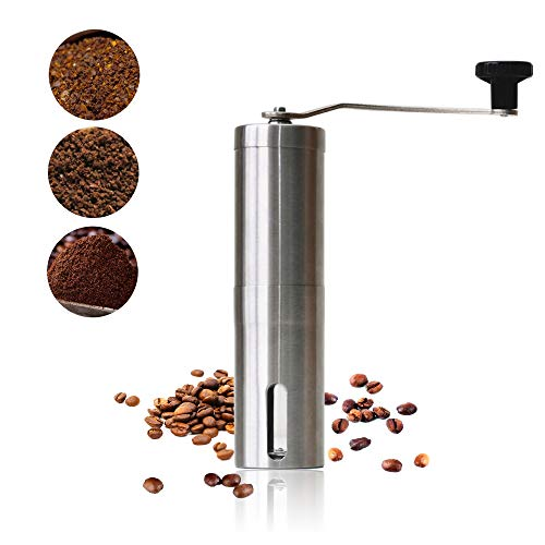 KEAIJUAN Manual Coffee Grinders with Adjustable Setting, High-quality Brushed Stainless Steel, Drip Coffee, Espresso, Conical Burr Coffee Bean Grinder for Home, Travel & Camping