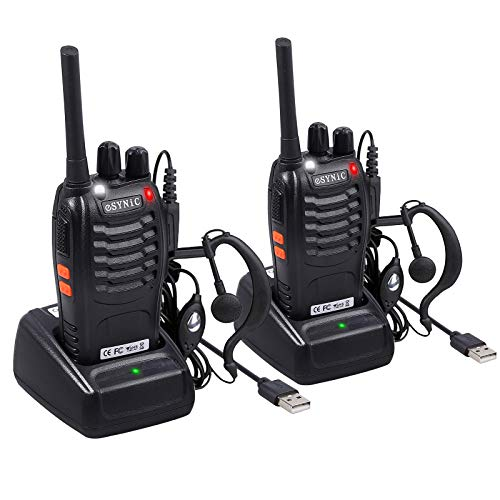 eSynic Rechargeable Walkie Talkies with Earpieces 2pcs Long Range Two-Way Radios 16 Channel UHF...
