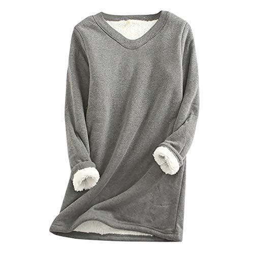 Auifor Langarmshirt Damen Lamm Kaschmir Winter Warme Pullover Sweatshirt, Pulli Fleece Sweatshirt V-Neck Langarm Shirts Oversize Bedrucktes Oberteil Shirts Tops(Dunkelgrau,Medium)