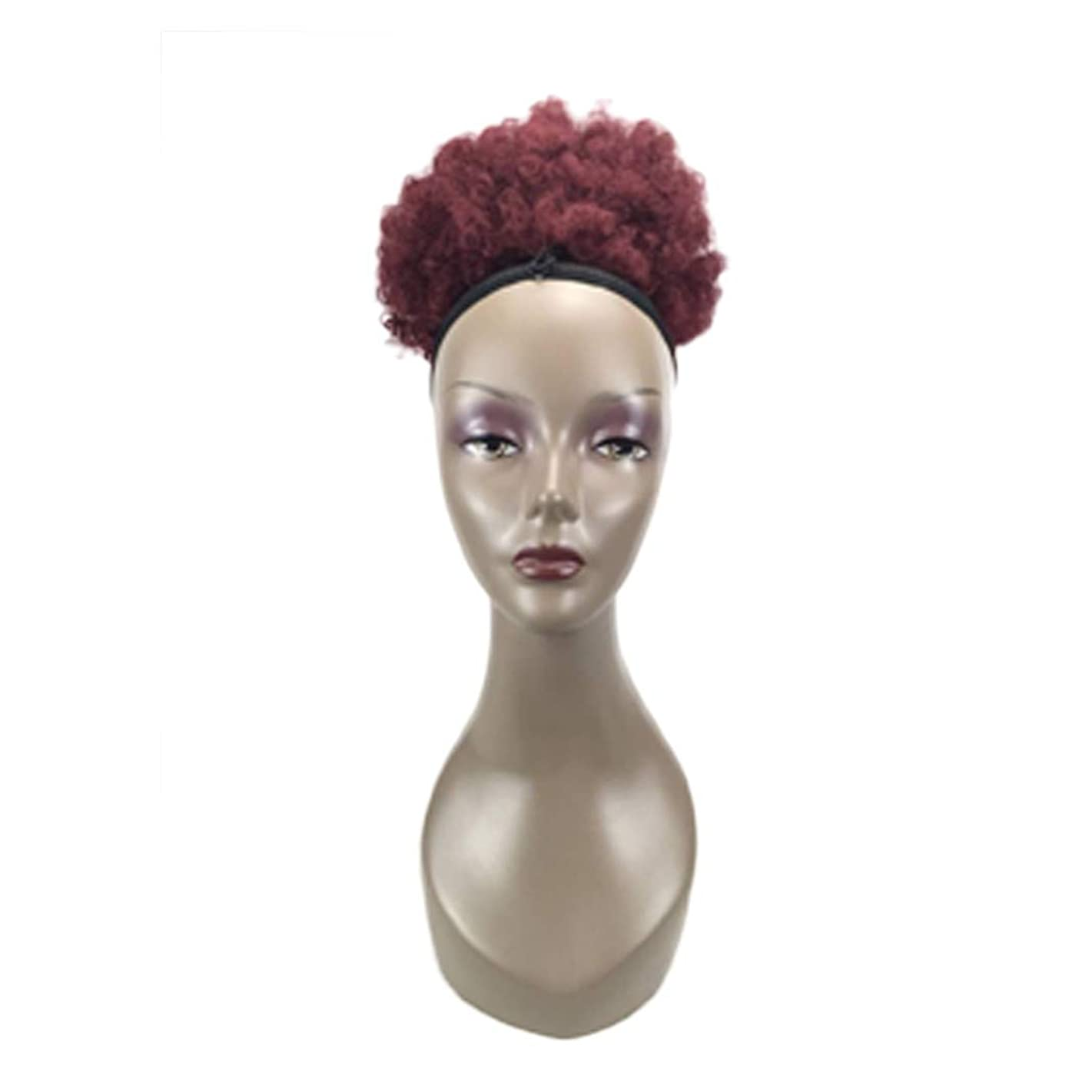 Lady Wig Black African Small Volume Fluffy Big Hair Bag Ponytail Wigs Stitching Diverse Zyqzw