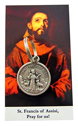 Westmon Works St Francis Pet Tag Round Animal Protection Medal Gift Set with Holy Prayer Card
