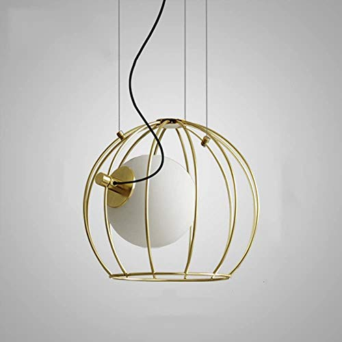 Golden Birdcage Chandelier Restaurant Kitchen Bar Decoration Lighting FixtureModern Simple Single Head Glass Ceiling Pendant Light Contemporary Amazing Iron Metal