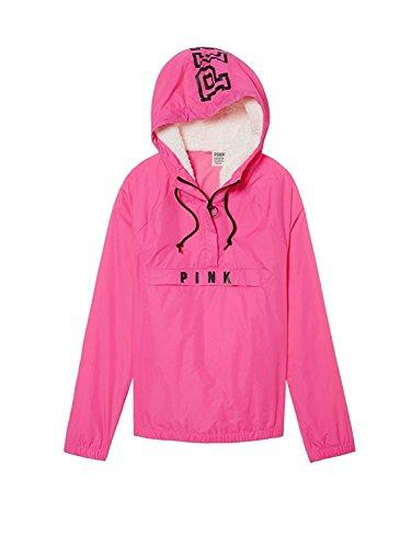 Victoria's Secret Pink Sherpa Lined Hood Anorak Windbreaker Jacket XS/Small Color Pink