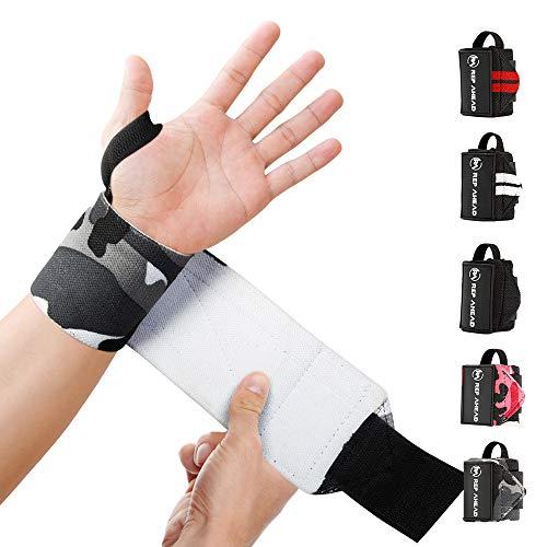 REP AHEAD® Wrist Wraps – Deine neuen Handgelenk Bandagen fürs Workout – Der extra bequeme 100{f92f510fc3361adf786cca53df7d07cca1ccce7193cf8c1ffa5602baf2cddd22} Handgelenkschutz für echte Athleten im Bereich Crossfit, Fitness, Calisthenics & Bodybuilding (Grau-Camo)