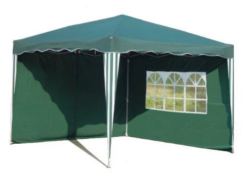 Kronenburg Faltpavillon WASSERDICHT Dachmaß 3 x 3 m UV Schutz 50+ Pavillon in Grün mit 2 Seitenteilen