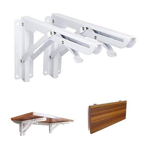 Folding Wall Bracket Xintan Tiger Collapsible Brackets 90° Wall Mount Stainless Steel Folding Shelf Wall Shelf Bracket 2Pcs (White)