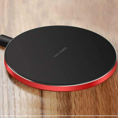 Amyove Cargador inalámbrico rápido Qi Samsung Galaxy S10 Plus S9 S8 S7 Note 9 8 Rojo