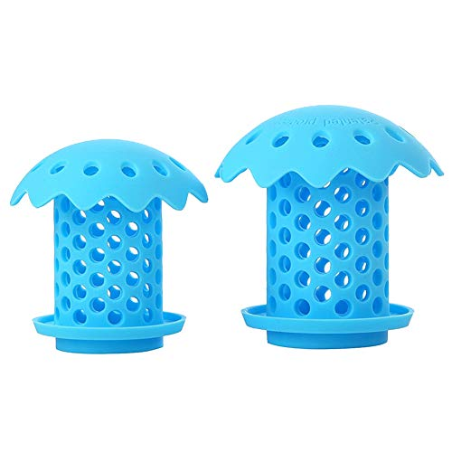 "Upgrade Bathtub Sink Drain Hair Catcher Protector Strainer, Durable Silicone Bath Tub Hair Strainer Protector for Bathroom, Kitchen, Shower Room, Snare Sizes 1.5"" and 1.75"" 2 pack (blue)"