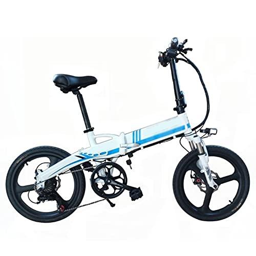 PHASFBJ Elektrofahrrad Fatbike, E-Bike Pedelec 20 Zoll 10Ah 350W Motor Lithium-Ionen-Akku Elektro-Fahrrad Mountainbike Klapprad Citybike mit Shimano 7 Gang-Schaltung,Blau