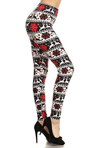 S648-PLUS Reindeer Cheer Print Fashion Leggings