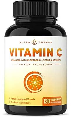 Premium Vitamin C 1000mg with Elderberry, Citrus Bioflavonoids & Rose Hips - 120 Capsules Vegan, Non-GMO Antioxidant Supplement for Immune Health & Collagen Production 500mg Powder Pills
