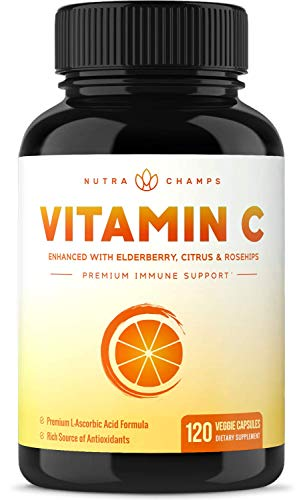 Premium Vitamin C 1000mg with Elderberry, Citrus Bioflavonoids & Rose Hips - 120 Capsules Vegan, Non-GMO Antioxidant Supplement for Immune Health & Collagen Production 500mg Powder Pills