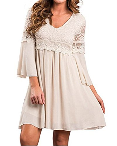 ZANZEA Women's Vintage Floral Lace V Neck 3/4 Bell Sleeve Cocktail A-line Swing Party Casual Mini Dress Beige 2XL