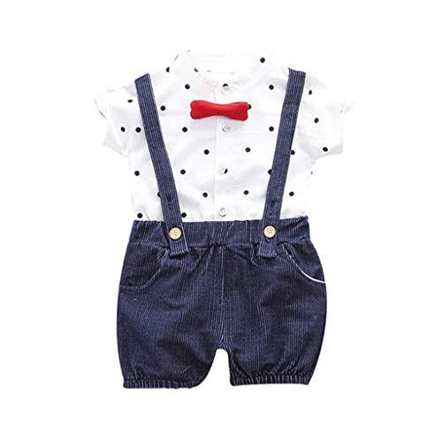 Allence Baby Hemdbody mit Fliege Cartoon Muster + Kurze Hose mit Träger Junge Bekleidungsset Kleinkinder Gentleman Anzug Baumwolle Set Babyanzug (90, Marine)