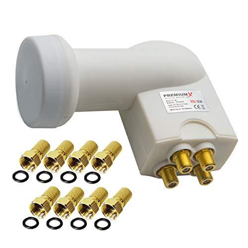 PremiumX Quattro LNB Bianco SAT Multi-abbonato per funzionamento multi-switch Convertitore di segnale TV satellitare DVB-S2 HD 4K incluso 8x F-plug con anello di tenuta