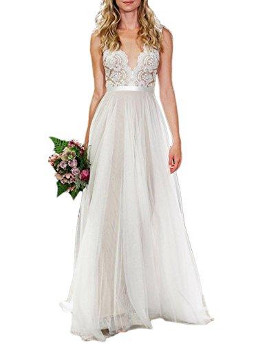 Ikerenwedding Women's V-Neck A-line Lace Tulle Long Beach Wedding Dresses for Bride Ivory US16 (Apparel)